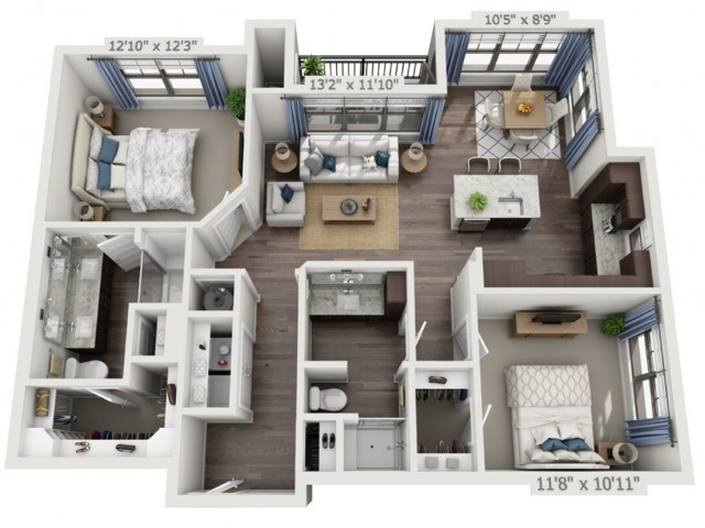 B2a | 2 bed 2 bath | from 1126 square feet