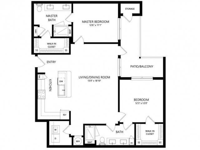 B3a | 2 bed 2 bath | from 1174 square feet