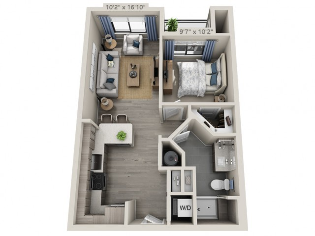 A1 | 1 bed 1 bath | from 621 square feet