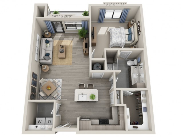 A3 | 1 bed 1 bath | from 728 square feet