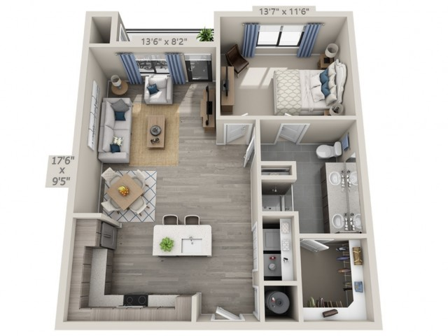 A7 | 1 bed 1 bath | from 852 square feet