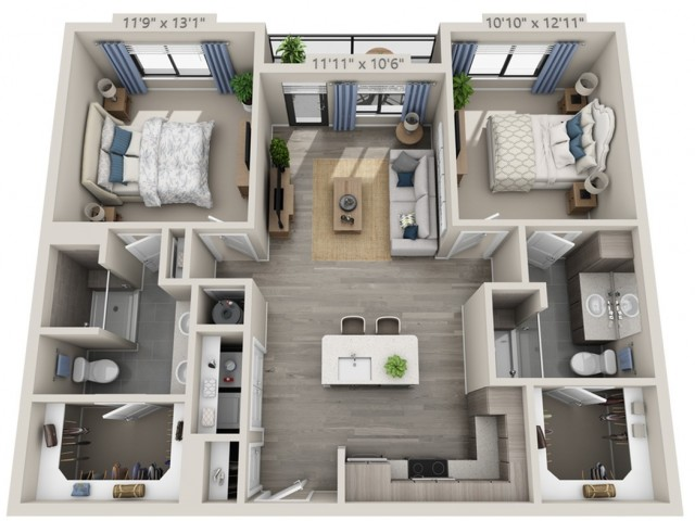 C2 | 2 bed 2 bath | from 1048 square feet