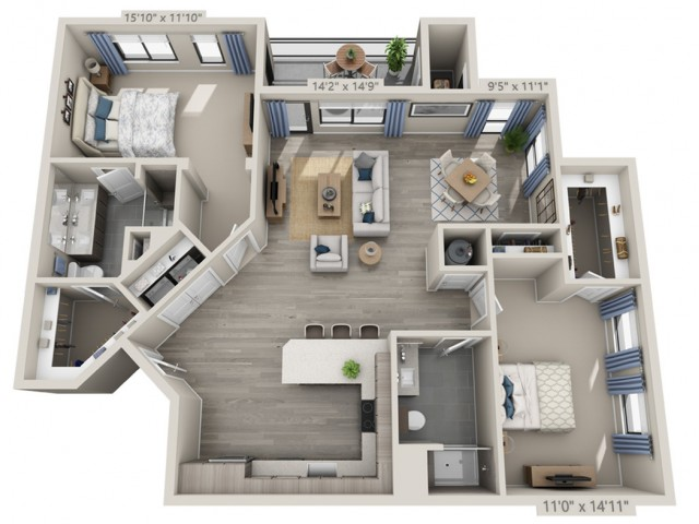 C4 | 2 bed 2 bath | from 1168 square feet