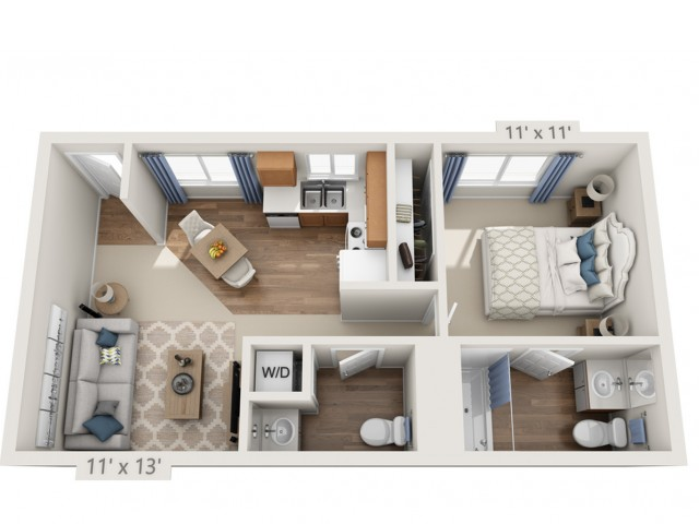 Young | 1 bed 2 bath | from 750 square feet