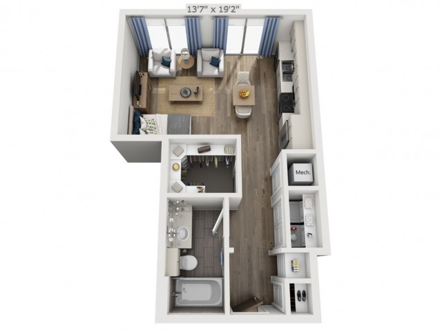 A0 | Studio1 bath | from 519 square feet