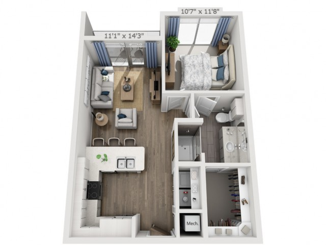 B2 | 1 bed 1 bath | from 652 square feet