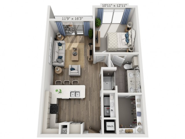 B3 | 1 bed 1 bath | from 728 square feet
