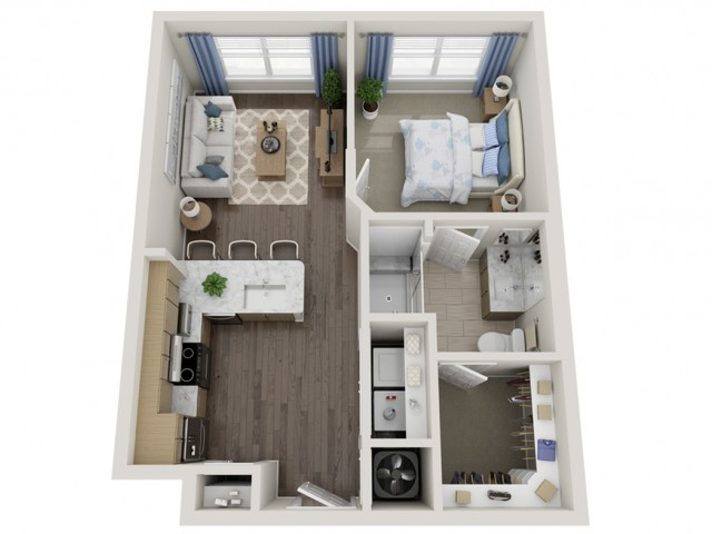 A1 | 1 bed 1 bath | from 598 square feet