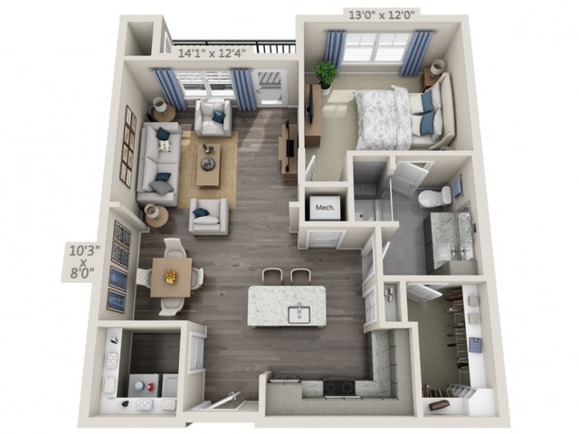 A2B | 1 bed 1 bath | from 1037 square feet