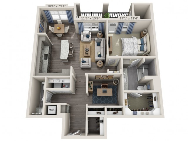 A4A | 1 bed 2 bath | from 1044 square feet