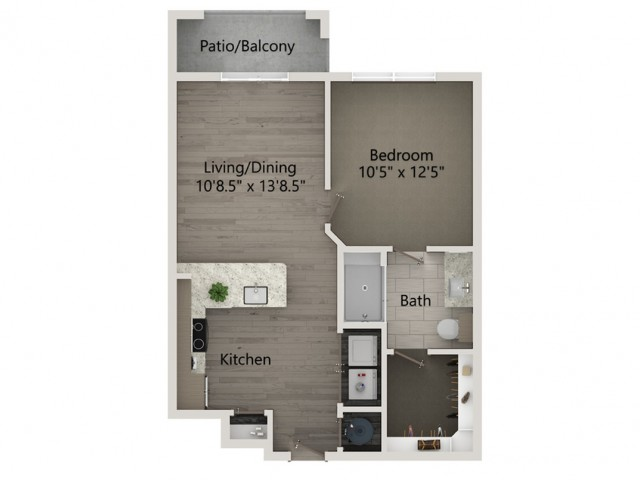 A1A   1 bed 1 bath   from 604 square feet