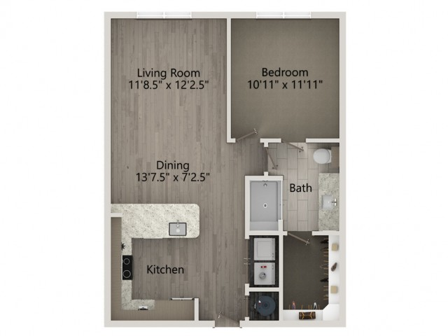 A2   1 bed 1 bath   from 729 square feet