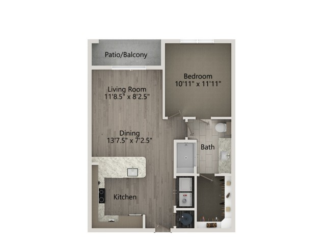 A2A   1 bed 1 bath   from 681 square feet
