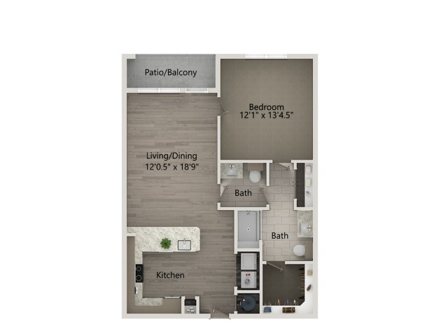 A4-Z   1 bed 1 bath   from 836 square feet