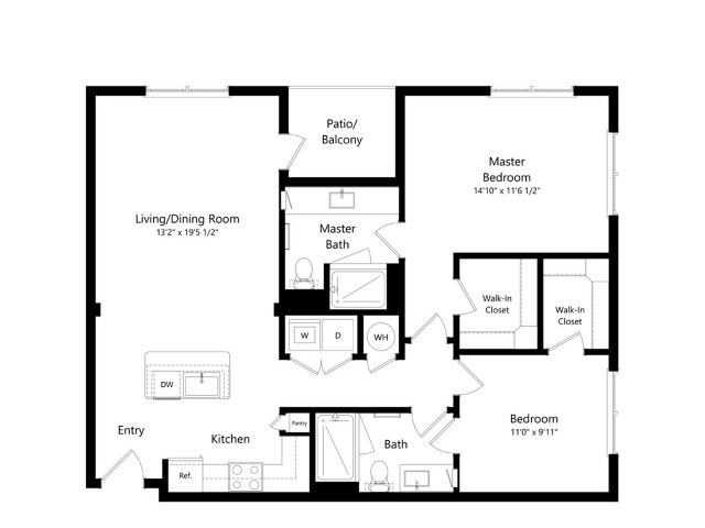 B1-Z   2 bed 2 bath   from 1016 square feet