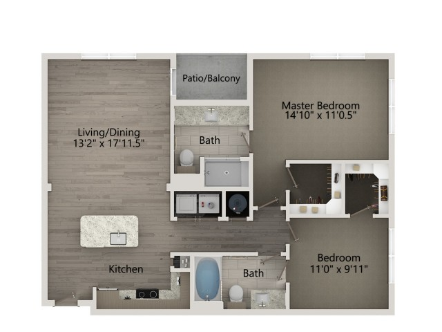 B1B   2 bed 2 bath   from 1016 square feet