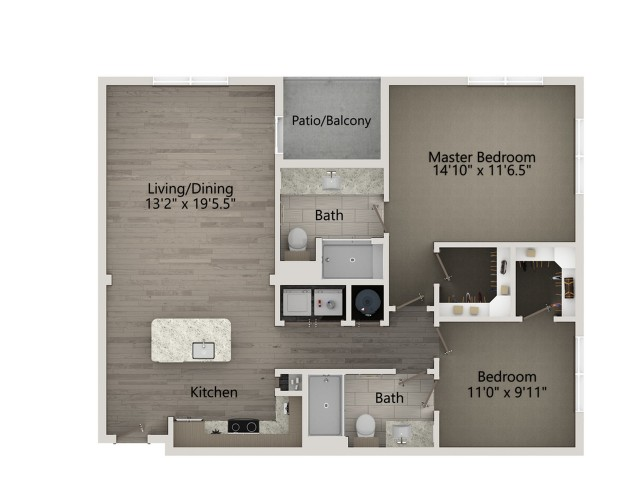 B1A   2 bed 2 bath   from 1061 square feet