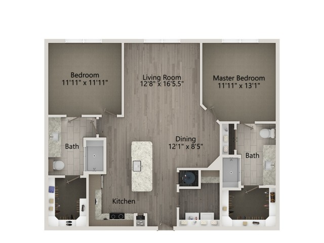 B2   2 bed 2 bath   from 1178 square feet