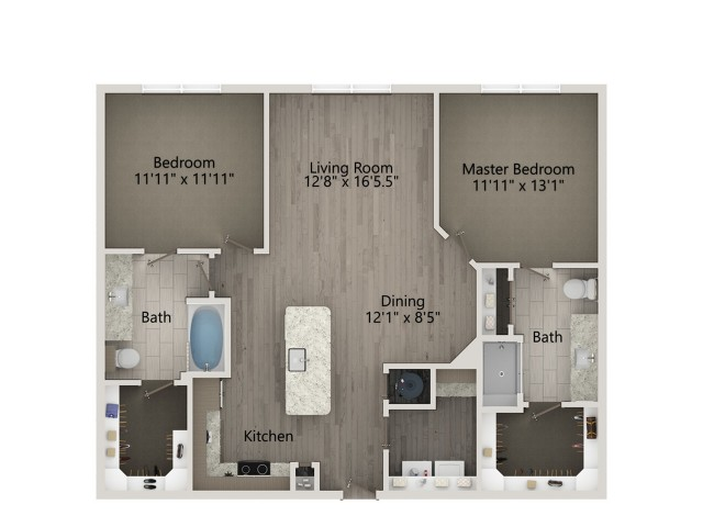 B2A   2 bed 2 bath   from 1178 square feet