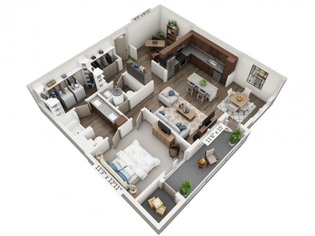 Opus | 1 bed 2 bath | from 998 square feet