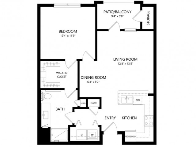 A1 | 1 bed 1 bath | from 730 square feet
