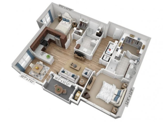 Opus | 2 bed 2 bath | from 1120 square feet
