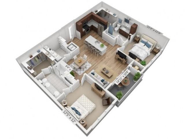 Mezzo | 2 bed 2 bath | from 1115 square feet