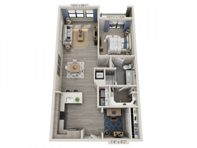 A3   1 bed 1 bath   from 972 square feet