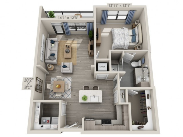 A2   1 bed 1 bath   from 846 square feet