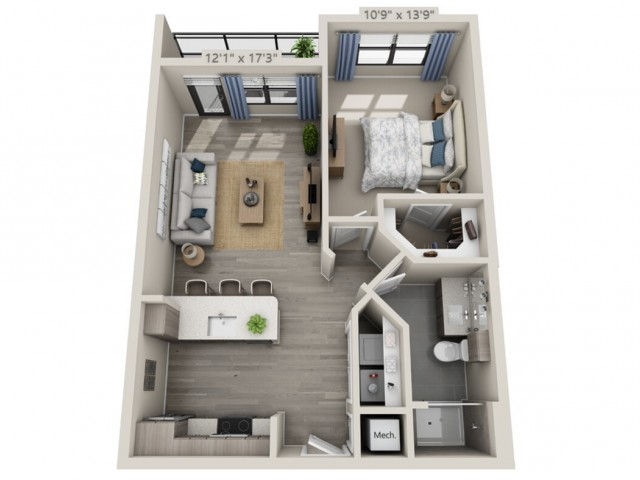 A1B   1 bed 1 bath   from 723 square feet