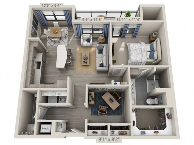 A4   1 bed 2 bath   from 990 square feet