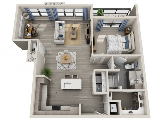 A5   1 bed 1 bath   from 955 square feet