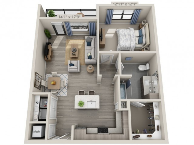 A2-HC   1 bed 1 bath   from 849 square feet