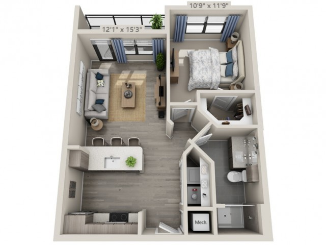 A1   1 bed 1 bath   from 675 square feet