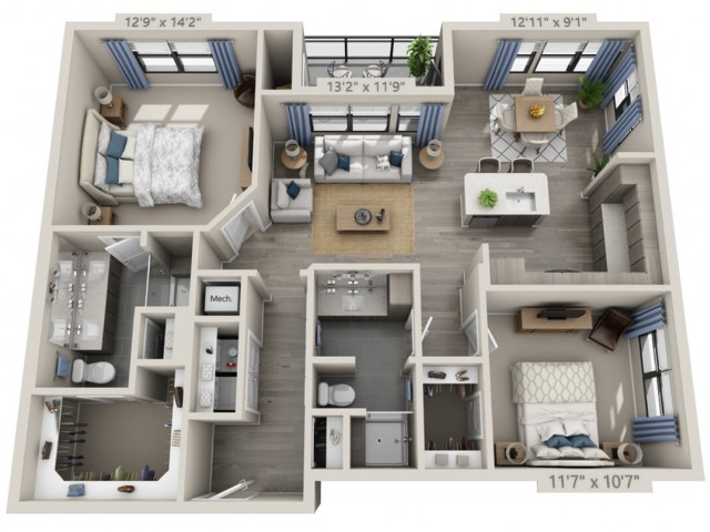 B2   2 bed 2 bath   from 1185 square feet