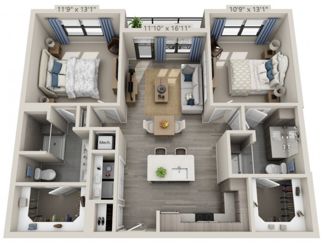 B1   2 bed 2 bath   from 1045 square feet