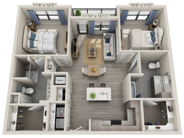 B1-HC   2 bed 2 bath   from 1045 square feet