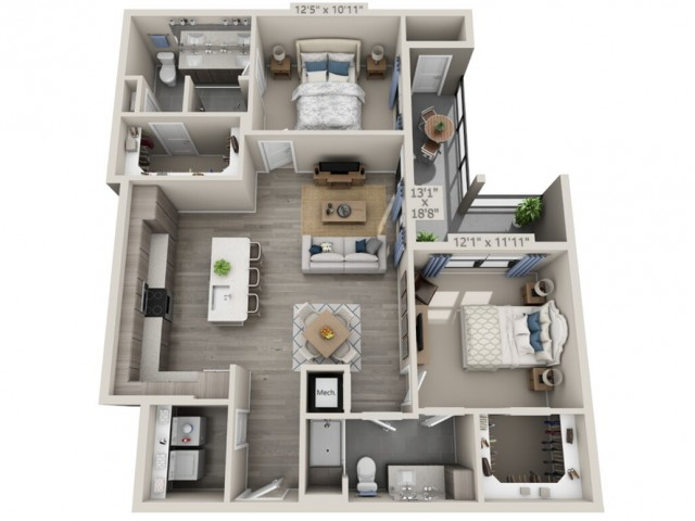 B3   2 bed 2 bath   from 1164 square feet