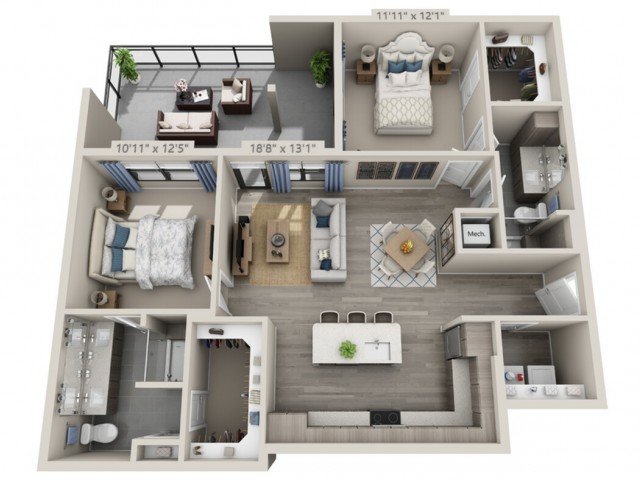 B3B   2 bed 2 bath   from 1164 square feet
