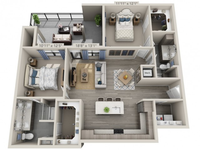 B3A   2 bed 2 bath   from 1164 square feet