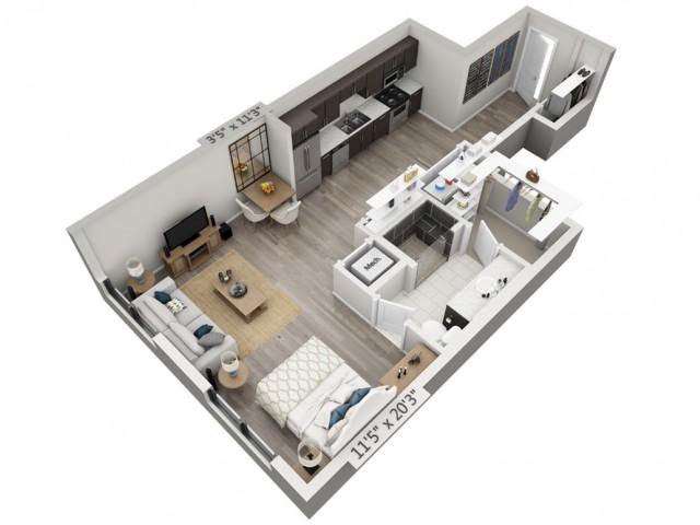 E1 | Studio1 bath | from 685 square feet