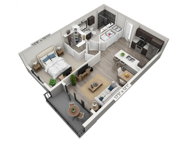 A1 | 1 bed 1 bath | from 677 square feet