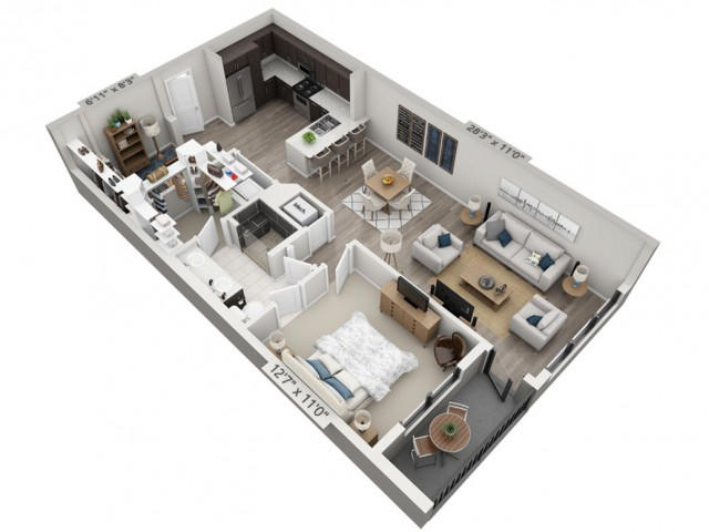 A3 | 1 bed 1 bath | from 957 square feet