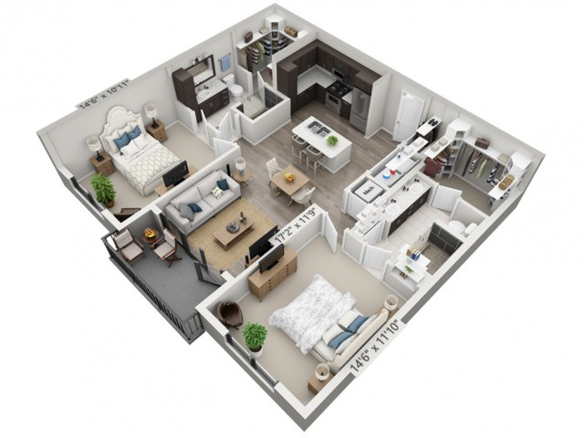 B1 | 2 bed 2 bath | from 1109 square feet