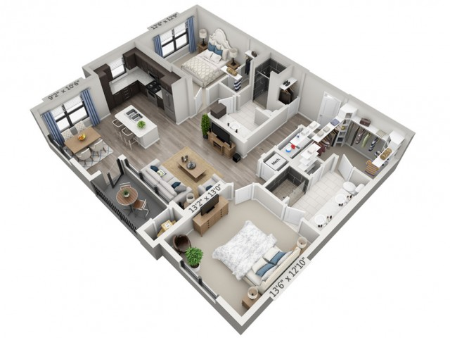 B2 | 2 bed 2 bath | from 1192 square feet