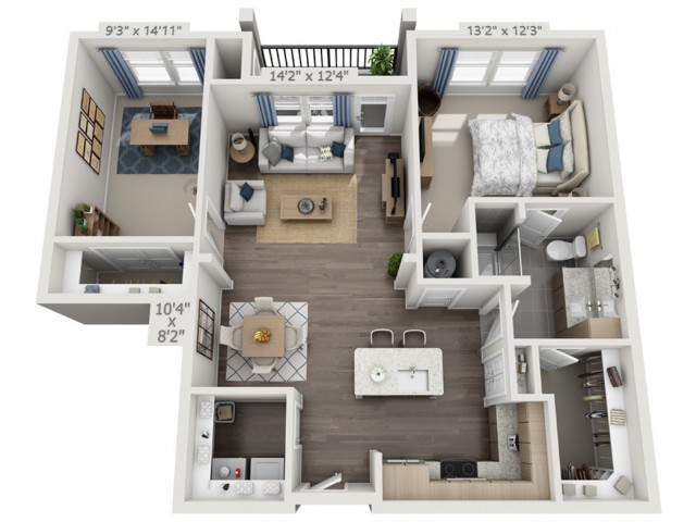 A2B   1 bed 1 bath   from 1037 square feet