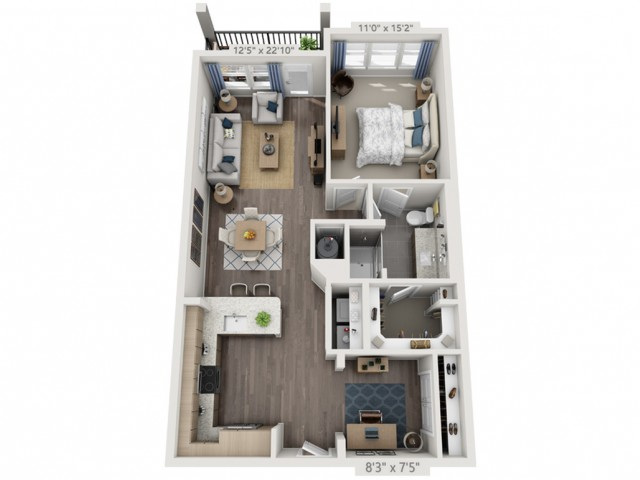 A3B   1 bed 1 bath   from 946 square feet