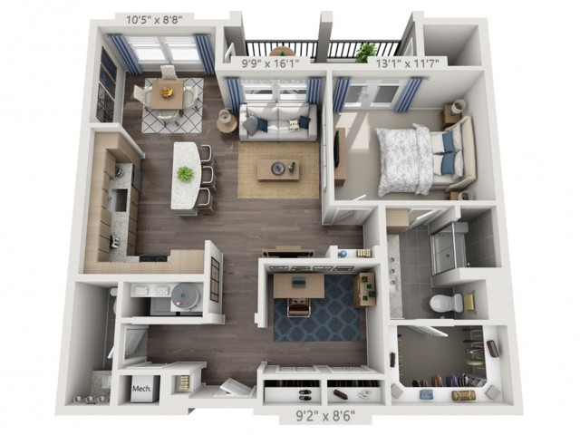 A4   1 bed 1 bath   from 996 square feet