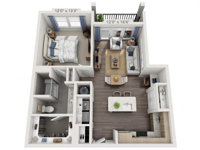 A6 | 1 bed 1 bath | from 779 square feet