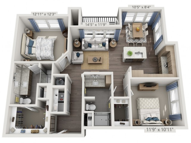 B2   2 bed 2 bath   from 1133 square feet